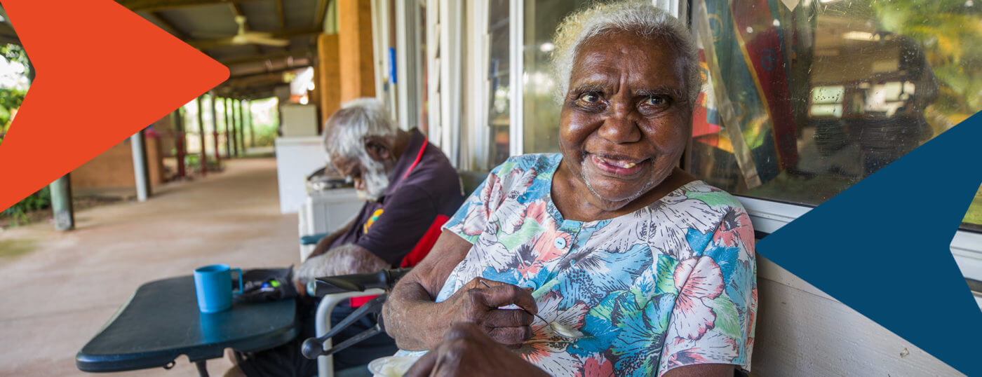 The joy-full face of a resident of a aged care facility.